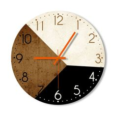Wall Clock  Brown Black Creamy White Clock Home by Snowbald