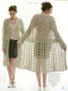 long crochet sweater - I would love to be able to make this sweater! Crochet Coat, Crochet Jacket, Crochet Cardigan, Crochet Clothes, Crochet Hooks, Cardigan Pattern, Crochet Fashion, Long Sweaters, Trending Outfits