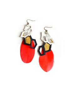 The Leather and Feather Geo Earrings by JewelMint.com, $60.00