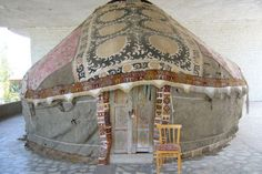 Kyrgyz Yurt or Trellis Tent, Central Asia.  © Sharon Lundahl  The Kyrgyz people are one of the nomadic Turkic peoples - that have roamed Central Asia over the millenia.    The nomadic tradition is so strong that some say that it is only in death, when he is buried, that a Kyrgyz stop wandering.   http://musicfortheeyes.com/2011/02/the-little-yurt-that-traveled-to-both-washingtons/