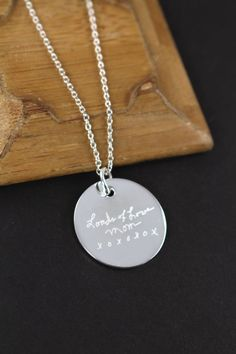 Check out Engraved Handwriting Jewelry Pendant Necklace,  Mother's Day Gift , 925 Sterling Silver on shinylittleblessings