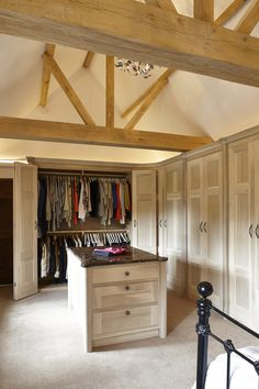 Tall full height wardrobe, with two rails for clothing, in washed tulip wood units. Bedroom and Wardrobe designed by Giles Slater for Figura Bedroom Closet Design, Closet Designs, Bedroom Closets, Bedrooms, Airy Bedroom, Stylish Bedroom, Farmhouse Master Bedroom, Master Room, Master Suite