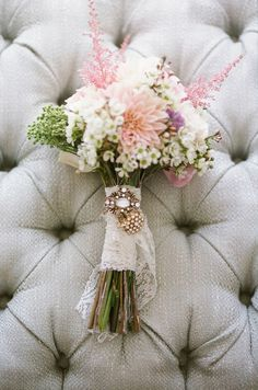wildflower wedding bouquet - i love the lace and the brouch, finishes it off perfectly    KAT!