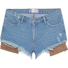 HIRONAÉ Paris Folkstone Blue // Denim shorts with leather pockets ($190) ❤ liked on Polyvore featuring shorts, hot jean shorts, micro denim shorts, short shorts, denim shorts and leather hot pants