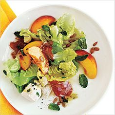 Prosciutto, Peach, and Sweet Lettuce Salad | MyRecipes.com #myplate #vegetable