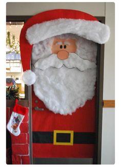 Santa door & thanksgiving classroom door decorations - Google Search | Crafts ...