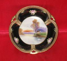 "NORITAKE Japan Vintage 5-3/4"" Dish ""M"" Handpainted Scene Black Gold Roses    eBay"