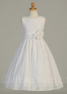 First Communion Dress - Polka-Dot Pattern and Flower Accent : LCD113 #catholicfaithstore