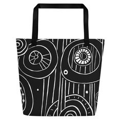 Black and White Doodle Beach Bag with Zipper Pocket Zentangle