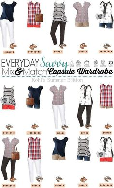 Fun Kohls Summer Outfits. These pieces mix and match for 15 different outfits for summer. This is a great summer mini capsule wardrobe.