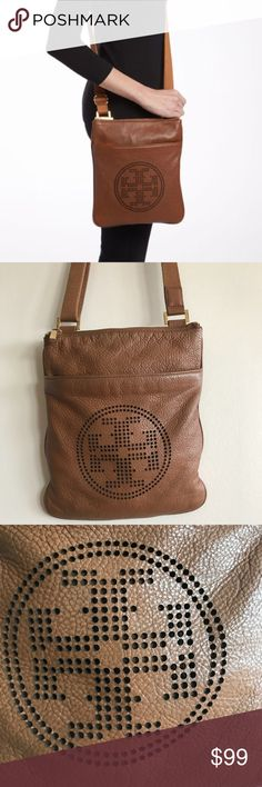 💗Tory Burch Perforated T Crossbody In fairly good used condition. The exterior is in good condition, showing slight wear on the corners and tarnishing on the metal hardware (see pics). This canvas lining is dirty and has several stains (see pics).  ❎No trades  💎Shop with confidence! To assure you receive your item as described, I'll record in detail the packaging and shipping of this💎 Tory Burch Bags Crossbody Bags