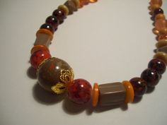 Women Boho Chic Brown Orange and Red Beaded by ArtHouseCreations, $19.99