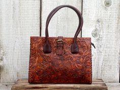 uan Antonio Saddle Brown Tooled Leather Handbag Tote