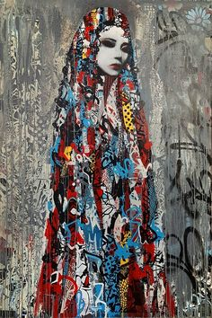 Street art by Hush. Stencil Street Art, Murals Street Art, Stencil Art, Street Art Graffiti, Collage Portrait, Portraits, Collage Drawing, Illustrations, Illustration Art