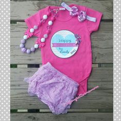 b95ae8b35b8 Personalized Father s Day Baby Girl Outfit - Hot Pink Personalized Onesie -  Bloomers - Headband -