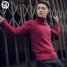 2017 Autumn&Winter Thermal Slim Turtleneck Sweater Male Trend of The Solid Color Pullover Knitted Blending Basic Shirt Costumes