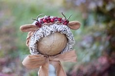 Image of Woodsie Forest headpiece/bonnet(b)-rts