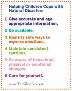 How to help children cope with a natural disaster...