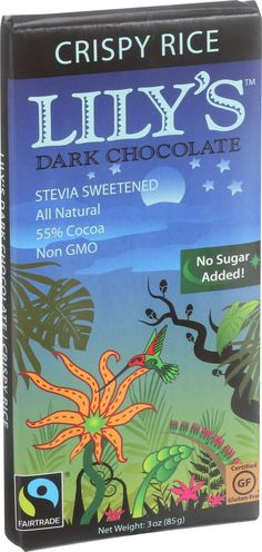 Lily's Sweets Chocolate Bar - Dark Chocolate - 55 Percent Cocoa - Crispy Rice - 3 oz Bars - Case of 12