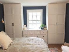 """Dark blue and white bedroom, """"Gentleman's Gray"""" by Benjamin Moore. IKEA Pax … Dark blue and white bedroom, """"Gentleman's Gray"""" by Benjamin Moore. IKEA Pax system with Hemnes door, Hemnes dresser and gray french. White Bedroom Furniture Ikea, Gray Bedroom, Trendy Bedroom, Bedroom Decor, Tiny Master Bedroom, Bronze Bedroom, Bedroom Bed, Bedroom Colors, Modern Bedroom"""
