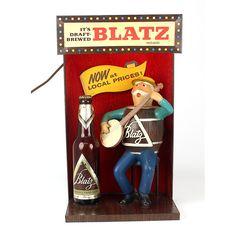 Blatz Beer Sign Lighted Barrel Guy With Banjo