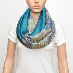 Infinity scarf with paisley floral pattern  by NyUrbanAccessories, $25.00