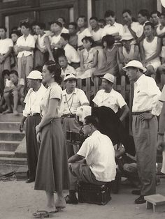 Setsuko Hara and Yasujiro Ozu filming Tokyo Story, 1953
