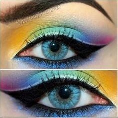 Exotic and bold eyes... #makeup #eyes #eyeshadow #liner #brows #lashes #strong #colorful #cosmetics #beauty
