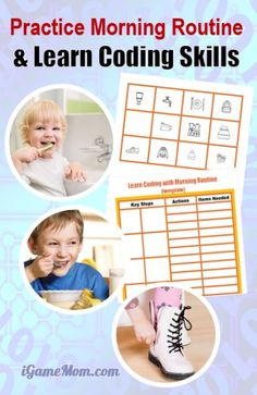 Learn computer coding via everyday life activity for kids, with free morning routine chart as example. Part of DIY Coding camp at Home series. | STEM | programming | unplugged | screen free