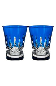 Waterford Lismore Pops Set of 2 Cobalt Lead Crystal Double Old Fashioned Glasses