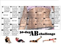 30 day workout challenges - Google Search