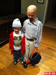 "Great kid costume, ""Jesse"" and ""Mr. White"" from BREAKING BAD! (look at the bald cap and fake goatee on that kid!)"