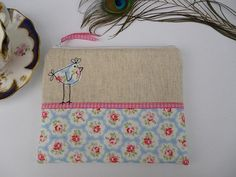 Handmade Cosmetic Makeup Bag Purse, Cath Kidston blue provence fabric, Hen applique, embroidery