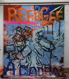 Hermann Josef Hack, REFUGEE ACADEMY, 150927, painting and spray paint on tarpaulin, 380 x 297 cm, 2015
