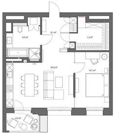Alaprajz - 64m2-es lakás természetes és semleges színekkel, besétálós gardróbbal, biokandallóval és projektorral Floor Plans, Modern, Decorations, Home Decor, Kitchen, Home, Trendy Tree, Decoration Home, Room Decor