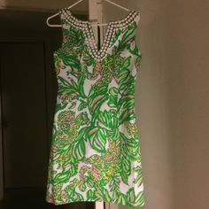 NWT Lilly Pulitzer Blaire shift dress Beaded shift dress in seeing elephants pink pattern from this season, sold out everywhere Lilly Pulitzer Dresses Midi