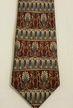 Bill Blass  Luxury Geometric 100% Silk Multi Color Classic Mens Neck Tie  #BillBlass #NeckTie