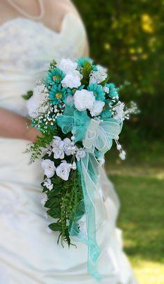 Aqua wedding flower bouquet  Teal wedding flower bouquet