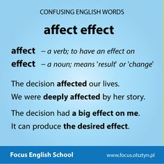 The confusing English words: affect, effect