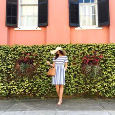 channeling all spring vibes with this striped sundress... Charleston you pair pink and green so well #april #charleston #latergram by lc_steele