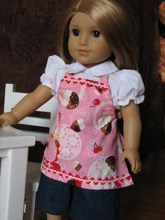 She loves this! CIJ  Sweet Cupcake apron for American Girl or by MadiGraceDesigns