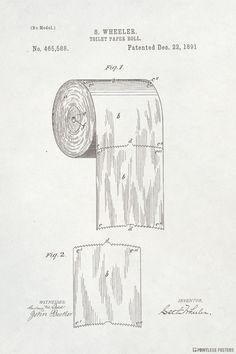 Toilet Paper Vintage Patent Art Poster