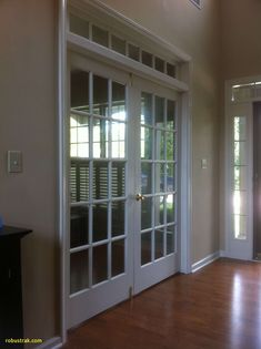 home office french doors near entry. This is pretty much exactly what our entryway looks like with the location of the room we'll be converting. - October 19 2019 at Traditional Home Offices, Traditional House, Exterior Patio Doors, Rustic Exterior, Door Design, House Design, Internal French Doors, Double Doors, Home Office Decor