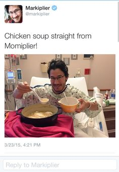 Aw! I am so glad Markiplier is feeling better! I hope he takes a break for awhile, because he needs a lot of time to heal after surgery.