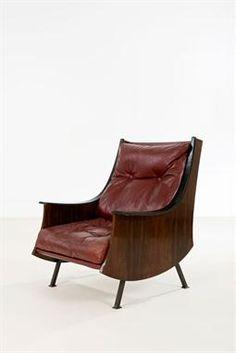 Carlo de Carli; Pallisander, Leather and Metal Lounge Chair for Editions Sormani, 1963.