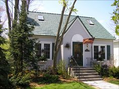 Gray House With Green Metal Roof Google Search Tin