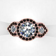 Black Diamond Engagement Rings Rose Gold 27