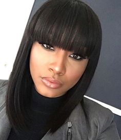 We  this blunt cut. Get this look with our Malaysian Straight.