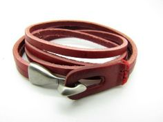 Red Leather Buckle Bracelet handmade. $15.00