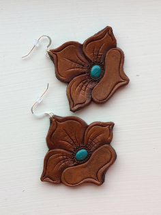 Hand Tooled Leather Flower Earrings with Silver Hooks